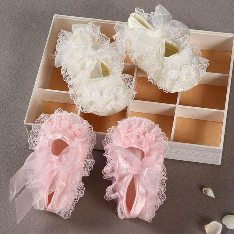 Non-slip Newborn Baby Girl Pink Crib Shoes Lace Soft Cloth Flower Crib Shoes Bow Anti-Slip Prewalker Shoes 0-9M