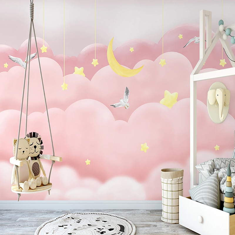Photo Wallpaper Modern Nordic Style Hand-painted Pink Clouds Starry Sky Fantasy Children's Bedroom Background Wall Mural Fresco