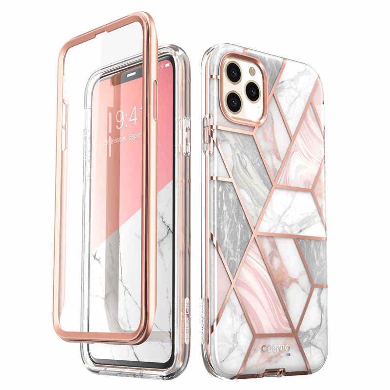 I-BLASON untuk iPhone 11 Pro Max Case 6.5 Inci (2019) cosmo Full-Body Glitter Marmer Bumper Case dengan Built-In Screen Protector