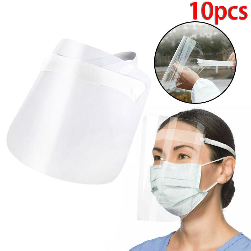 1/2/4/6/10pcs Transparent Full Face Masks Safety Faceshield Full Face Mouth Cover Protective Anti-fog Clear Vision Film Tool