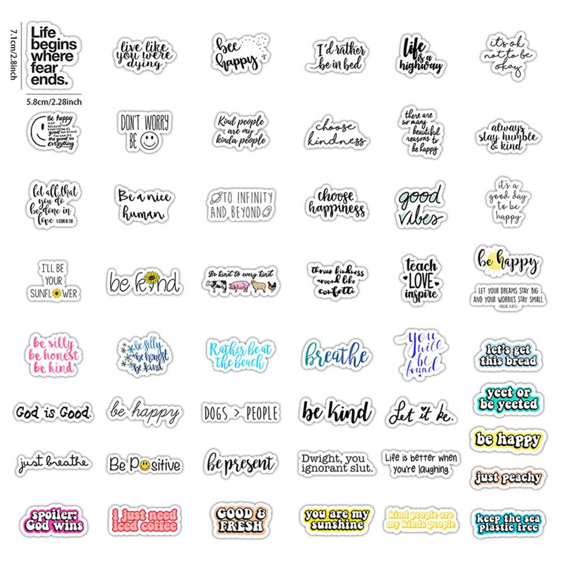 50 Pcs Be Happy Inspirational Quotes Stickers Laptop Sticker Decal For Computer Notebook Water Bottle Moto Decoration Stickers
