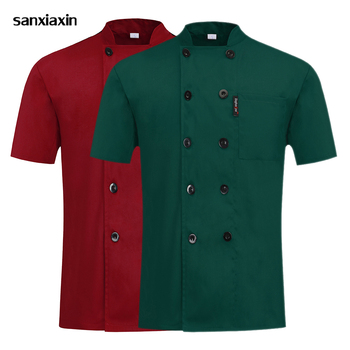 Food service Chef uniform waiter catering cook jackets kitchen work clothes short sleeves chef coat waitress uniforms men&women women men chef waiter waitress uniform cook kitchen accessories apron with pockets restaurant craft baking bbq work apron