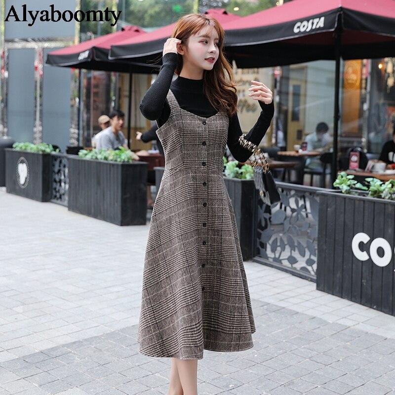 Женский сарафан средней длины в английском стиле на осень и зиму, винтажное клетчатое шерстяное платье без рукавов, элегантное шикарное теплое платье для женщин|Платья| | АлиЭкспресс