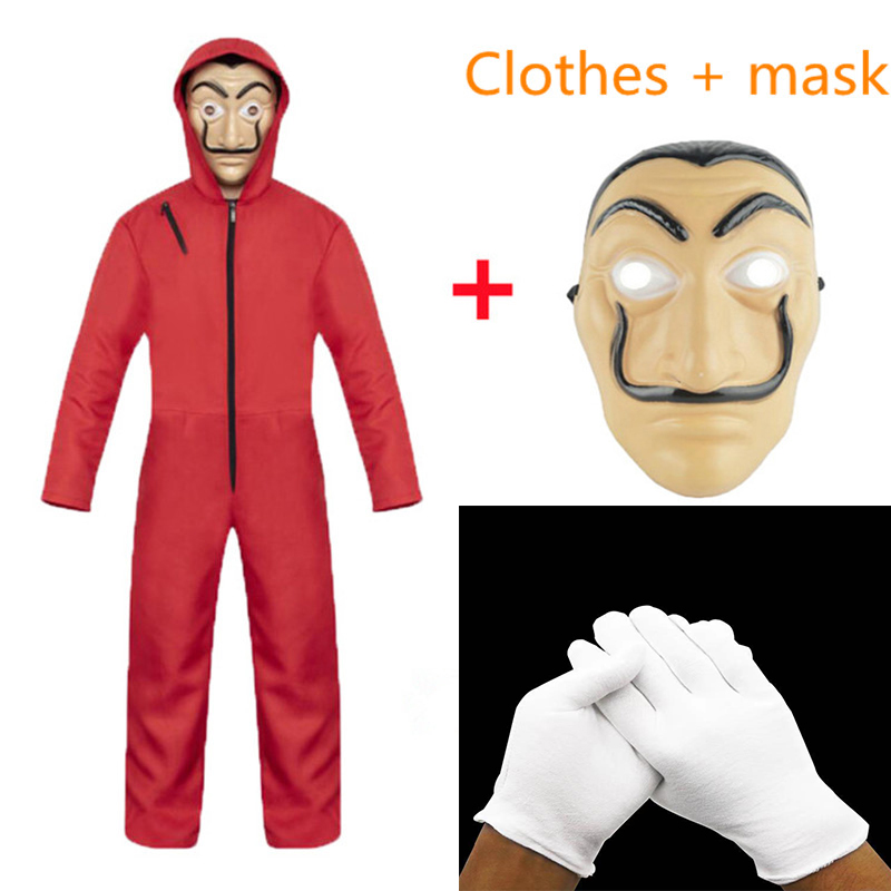 Spain Salvador Dali Movie Costume Robbery Paper House La Casa De Papel Adult Kids Cosplay Halloween Costume Mask