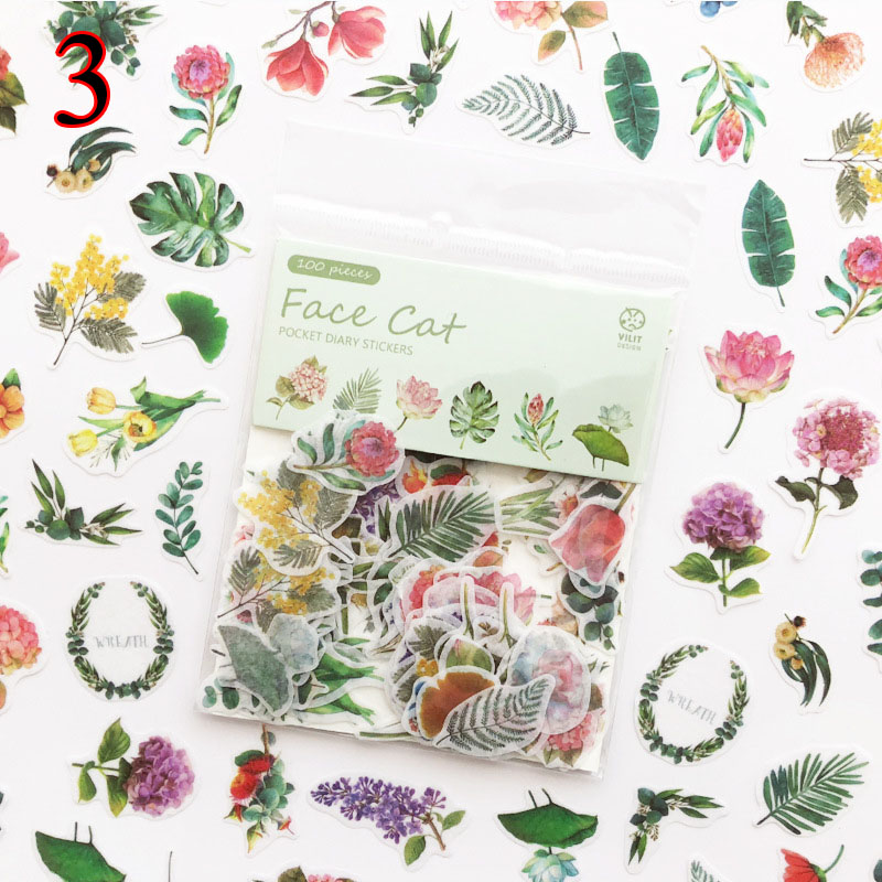 100pcs/bag Kawaii Cat Stickers Green Plant Dessert Decoration Adhesive Stickers Scrapbooking Diary Diy Album Stationery Stickers