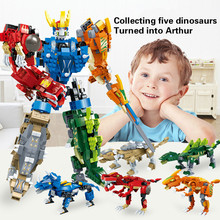 Dinosaur robot deformation five-in-one puzzle assembling boy toy blocks one robot