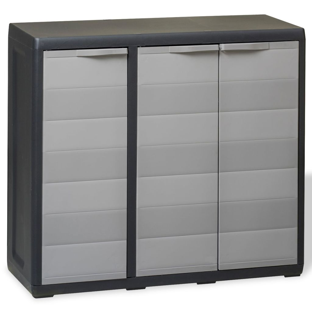 VidaXL Garden Storage Cabinet With 2 Shelves Black And Grey