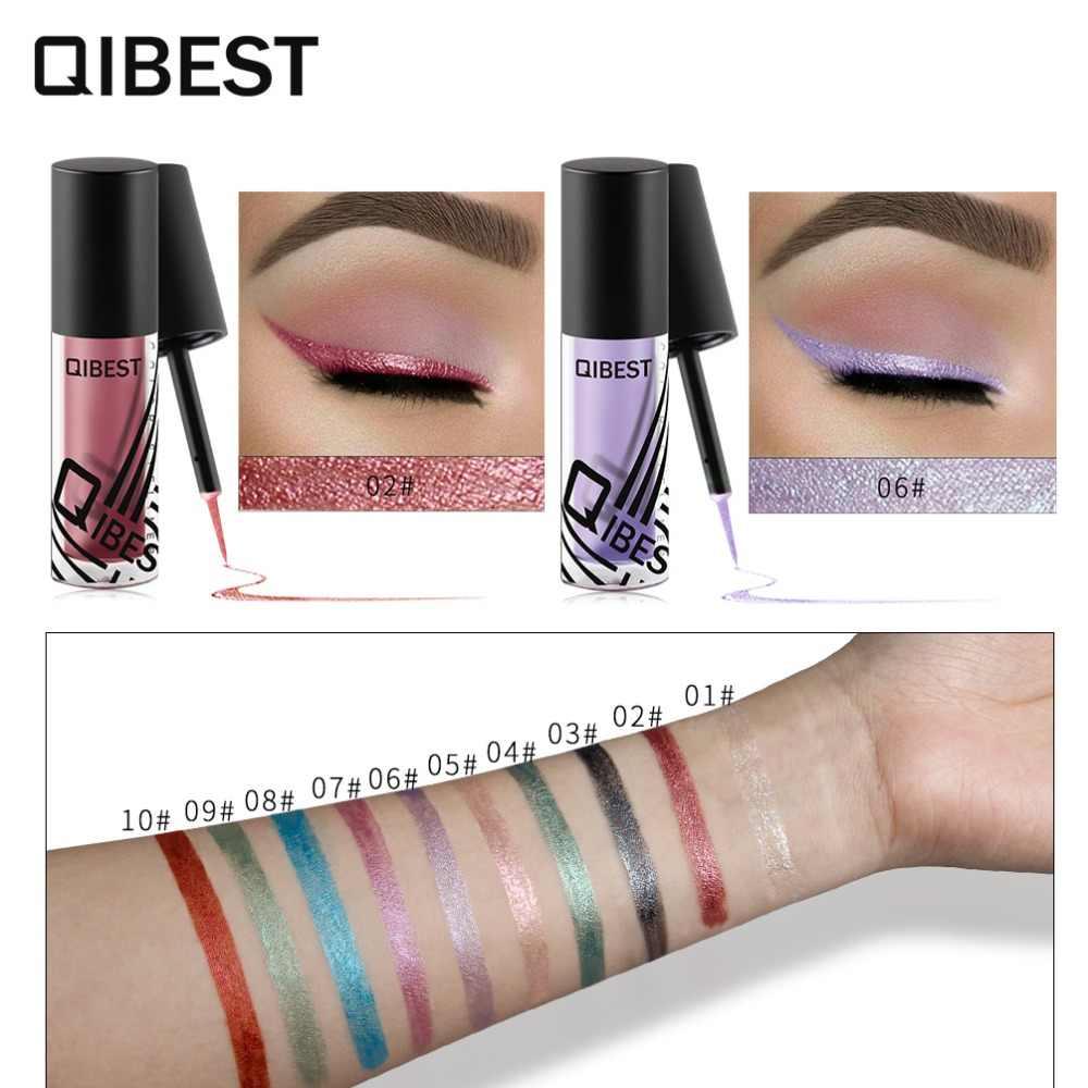 Qibest 10 Renk Pırıltılı Eyeliner Jel Su Geçirmez Uzun Ömürlü Glitter Göz Kalemi Makyaj Altın Yeşil Gümüş Eyeliners Kozmetik