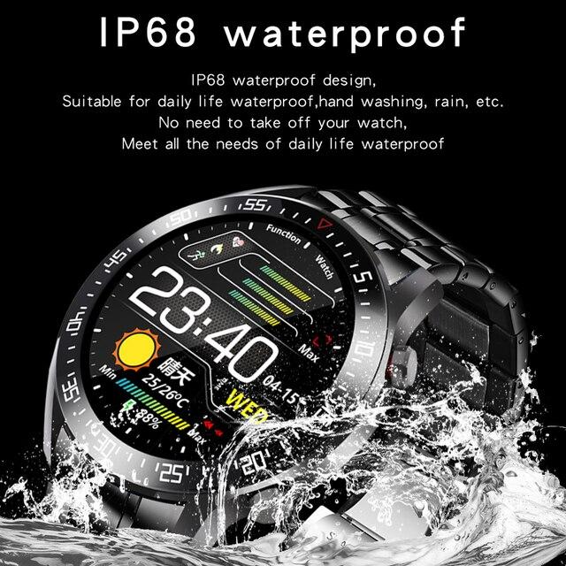 Lige 2020 nova banda de aço relógio digital dos homens do esporte relógios eletrônicos led masculino relógio de pulso para homens relógio à prova dbluetooth água bluetooth hora 6