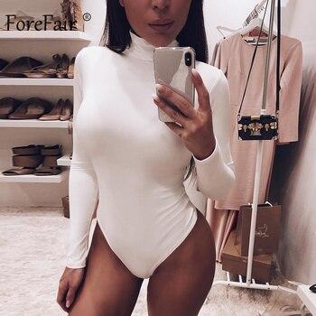 Forefair Sexy Solid Turtleneck Body Femme Long Sleeve Tops Autumn Winter Elegant Slim Bodycon Black White Bodysuit Womens 3