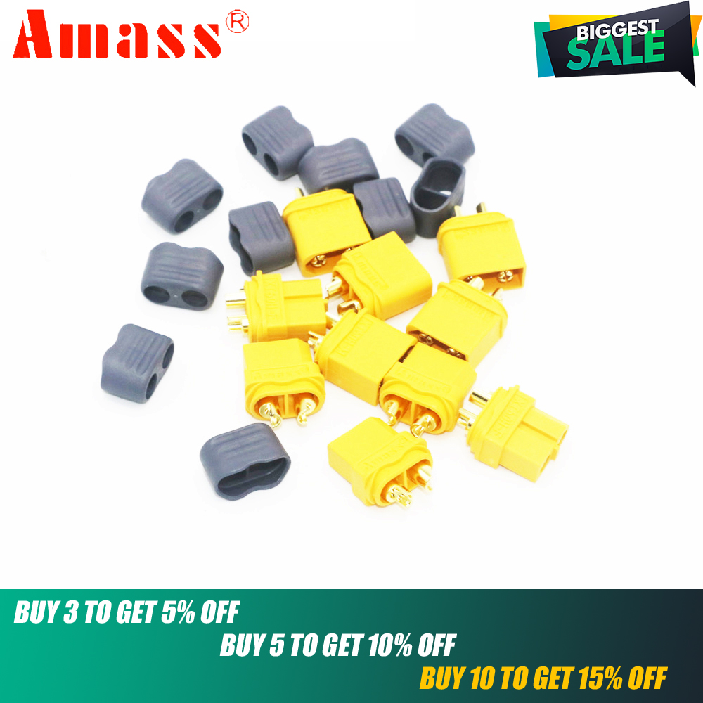 XT60+ Connectors,5pair/lot AMASS XT60+ Plug Connectors With Sheath Housing For RC battery(China)