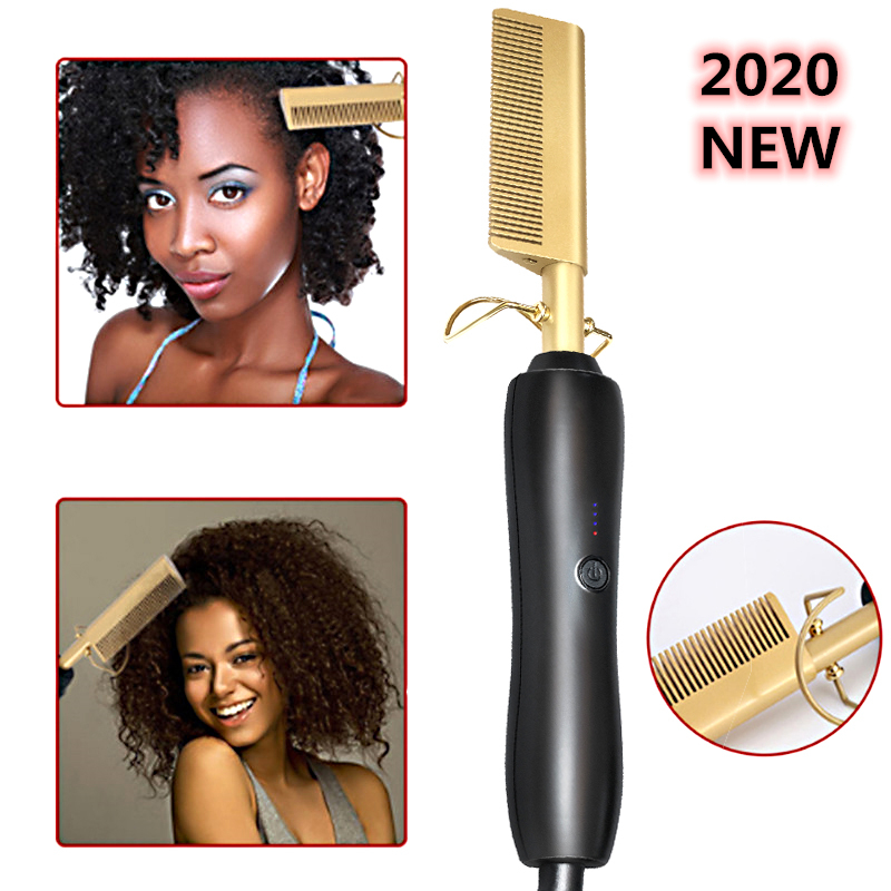 450ºF High Heat Ceramic Hot Comb Wet / Dry Use Hair Straightener Iron Comb Electric Environmentally Friendly Gold New Hairbrush