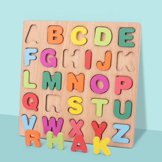 New Wooden 3D Puzzle Toy Kids English Alphabet Number Cognitive Matching Board Baby Early Educational Learning Toys for Children 2