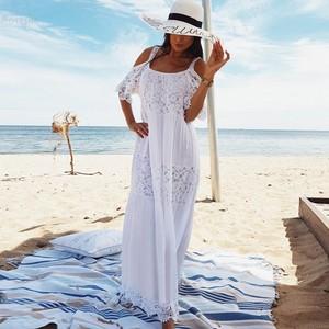 Image 1 - 2020 Cotton Patchwork Lace Beach Dress Long Beach Cover up Vestido Bathing suit Cover ups plage Sarong Robe de Plage Tunic #Q689