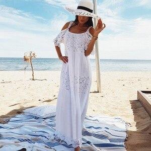 Image 1 - 2020 כותנה טלאי תחרה חוף שמלה ארוכה חוף כיסוי למעלה Vestido בגד ים כיסוי ups plage סרונג חלוק דה Plage טוניקת # Q689