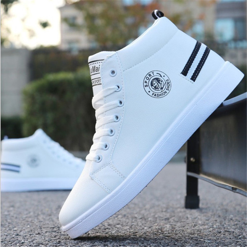 2020 New Men's <font><b>Skateboarding</b></font> <font><b>Shoes</b></font> High Top Sneakers Breathable White Sports <font><b>Shoes</b></font> Students <font><b>Shoes</b></font> Street Walking <font><b>Shoes</b></font> 39-44 image
