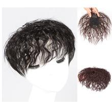 Salonchat шпильки кукуруза борода парик шиньоны Реми человек волосы с челкой для женщин человек волосы кусок закрытие кудрявый кудрявый черный