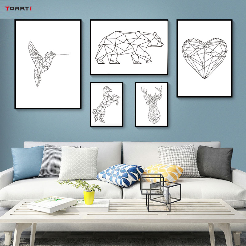 Abstract Line Animals Poster Prints Bird Heart Modern Canvas Painting On The Wall For Living Room Home Decor Simple Art Pictures (1)