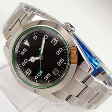39mm Bliger Automatic Men's Watch Unisex Japan Miyota8215/NH35A Black Dial Sapphire Glass Oyster/Jubilee Bracelet Green Lume