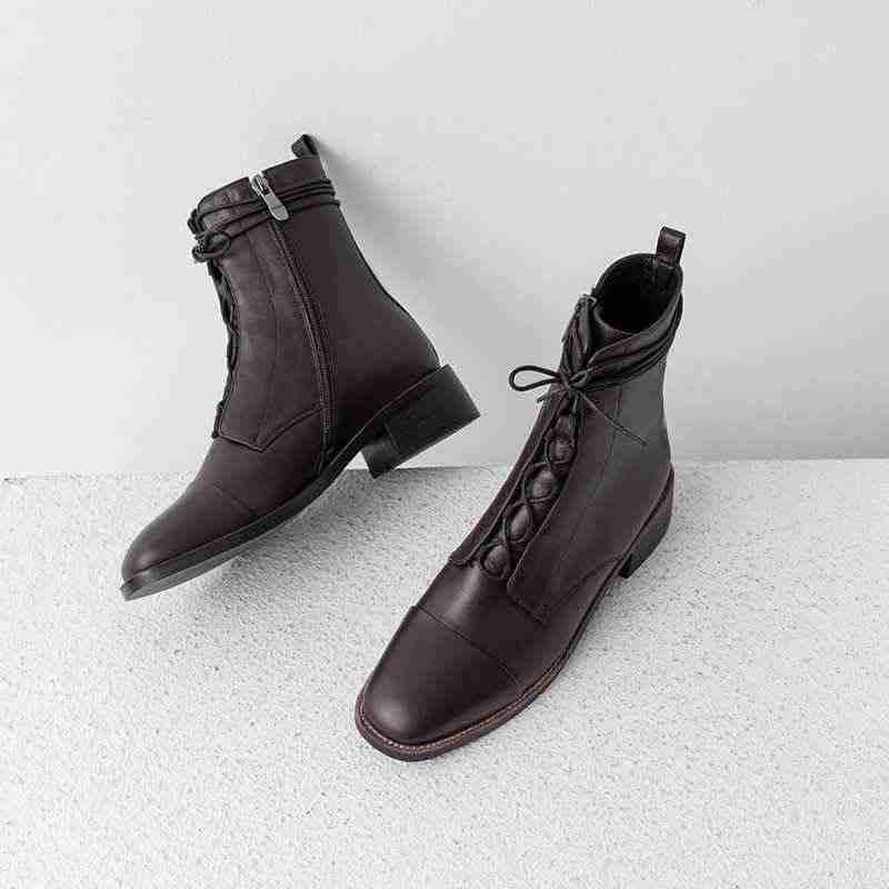 Lenkisen ของแท้หนัง vintage อังกฤษโรงเรียน lace up รอบ toe ส้นด้านข้างซิปฤดูหนาวผู้หญิงที่อบอุ่นรองเท้าข้อเท้าใหม่ l59