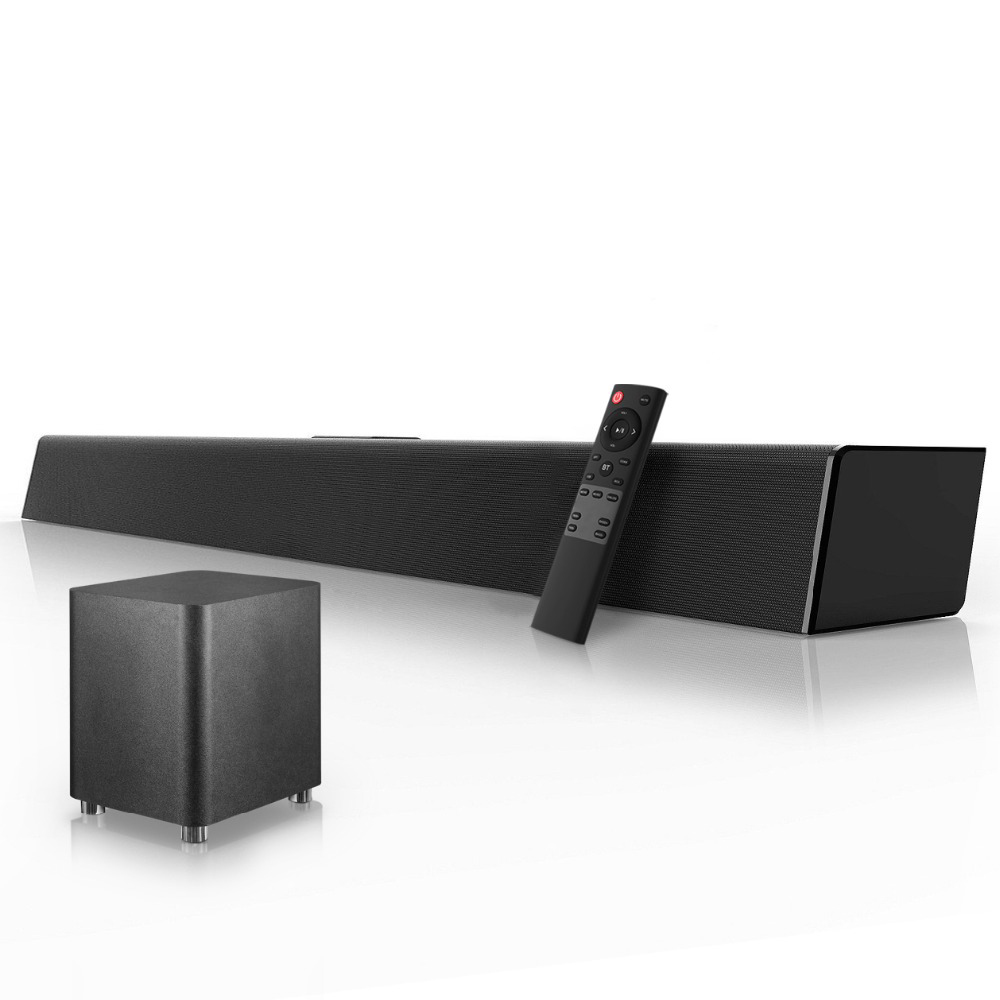 120W Sistema de Som Home Theater Soundbar 2.1 Barra de Som TV Suporte Bluetooth Speaker AUX Óptica Coaxial Speakers Subwoofer Para TV