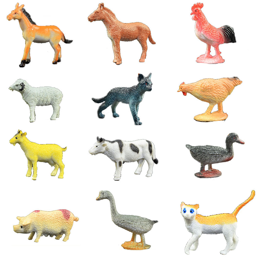 12 PCs/set Intelligence Simulation Poultry Plastic Miniature Figurines For Kid Farm Ornaments Pig Duck Animal Model Toy Mini