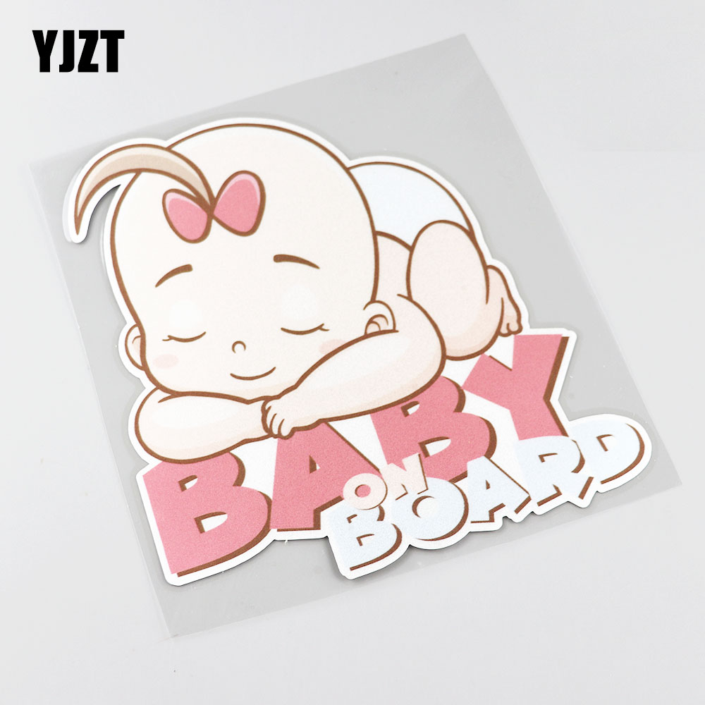 YJZT 14.5CMX15.6CM Baby ON Board Pvc Decal Sleeping baby Car Sticker 13A-0058