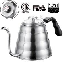 Чайник для чая и кофе из нержавеющей стали с термометром, тонкий носик с гусиным краем для залейте кофейник, работает на плите, 40 унций/1,25 л