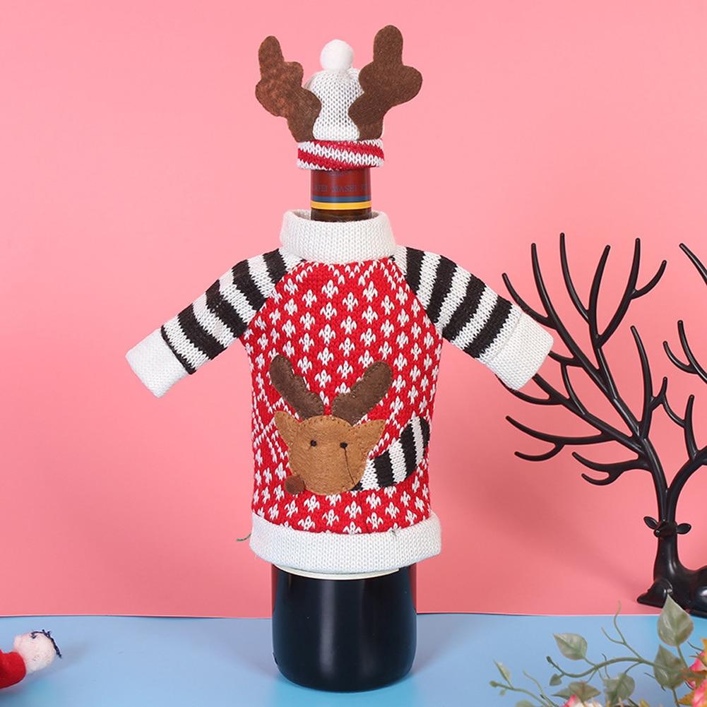 Christmas Bottle Cover Case Home Decor Santa Claus Deer Snowman Ornaments Bags