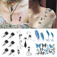 Временные Татуировки Наклейка для Женщин Боди Искусство Тату Наклейка 3D Бабочка Роза Цветок Перо Тату Водонепроницаемый Цветок Наклейки