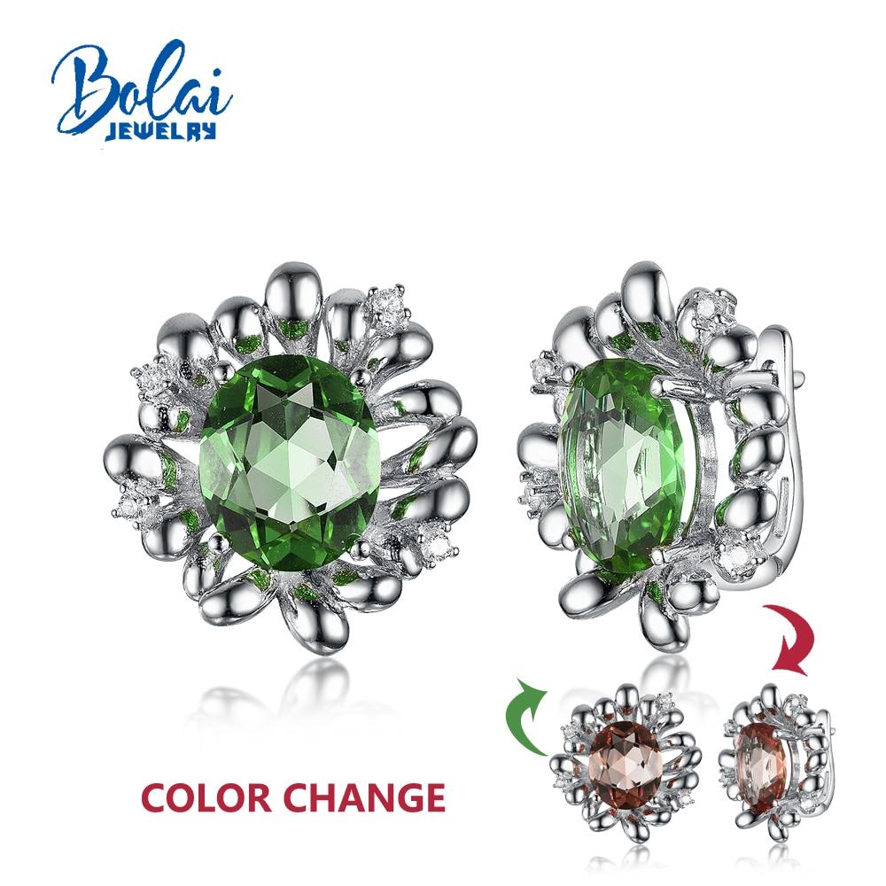 2020 nouveau changement de couleur zultanite boucles d'oreilles pierres précieuses 925 en argent sterling bijoux fins pour femmes filles bolaibijoux