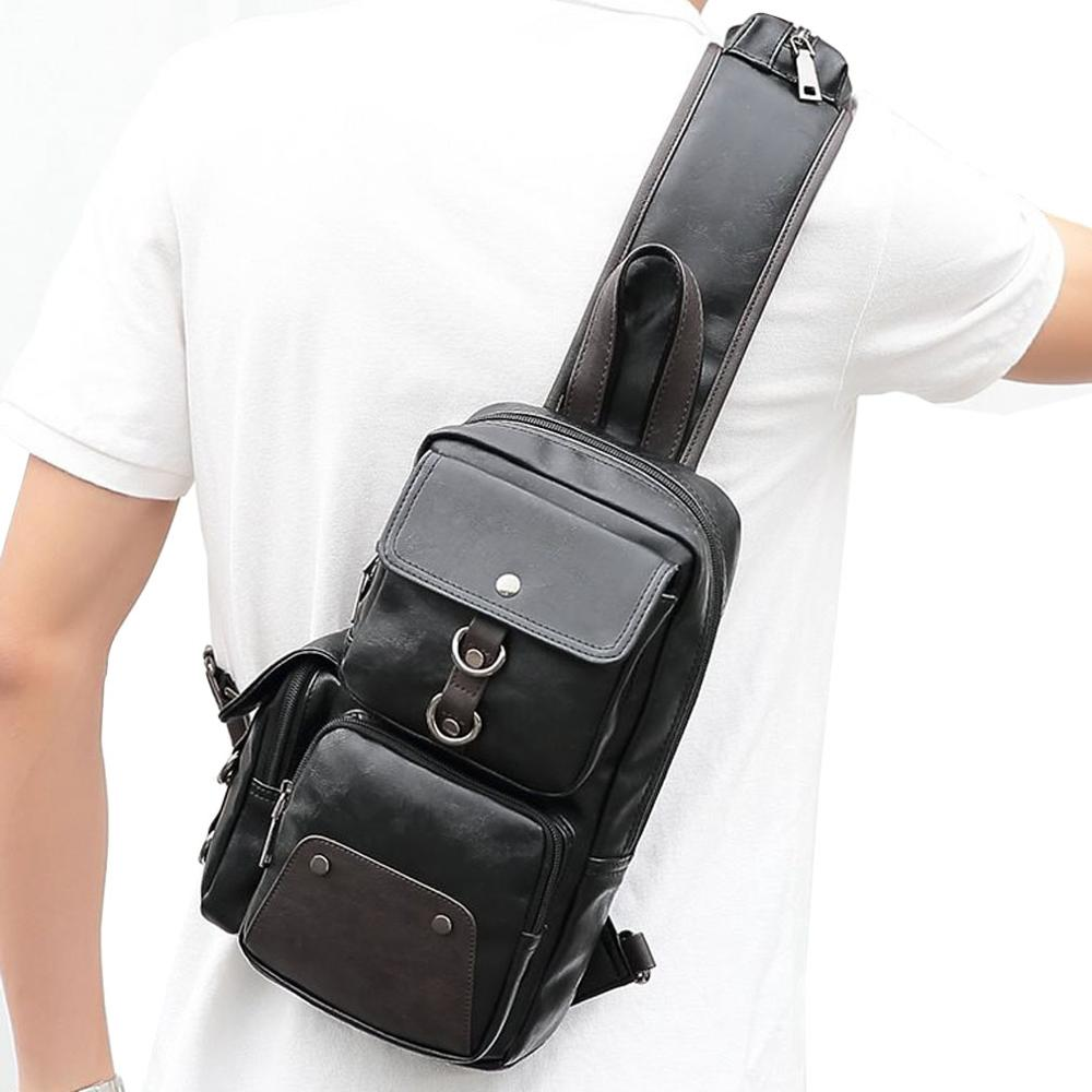 Retro Mens Chest Bag Mens Diagonal Bag Leather Casual Outdoor Travel Bag Shoulder Bag
