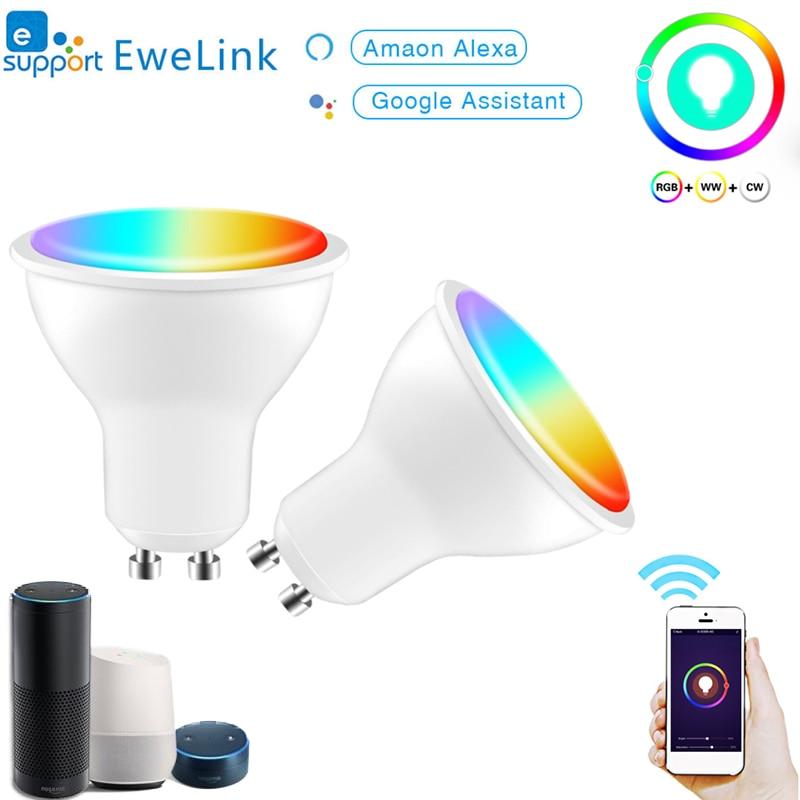 Wifi смарт-Gu10 светодиодный светильник лампы Точечный светильник 220-240 В eWeLink 4 Вт RGB + CCT голос Управление работать с Alexa Google Home