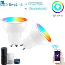 Gu10 esperto de wifi conduziu o trabalho do controle de voz do rgb + cct do aplicativo 4w ewelink da lâmpada 220-240v com alexa google casa