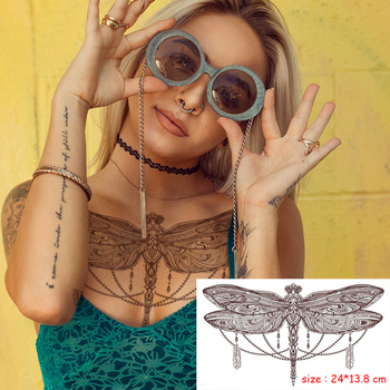 Temporary Waterproof Tattoo Sticker dragonfly feather animal necklace sexy chest back Flash water transfer Tatto for Woman girl rc 235 water transfer temporary tattoo sticker sexy waist chest designs feather flash tattoo body art temporary tattoo sticker