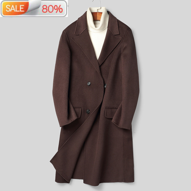 2020 New 100% Wool Coat Men Double Breasted Long Jacket Korean Overcoat Mens Jackets and Coats B19N007090A B24277