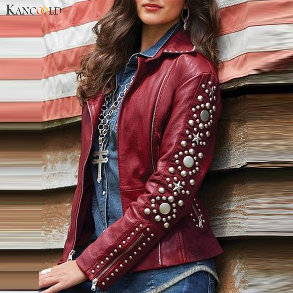 KANCOOLD Coats Womens Leather Solid Rivet Lapel Zip Jacket Long Sleeve Studs Short Outerwear Fashion New Coat Women 2019NOV25