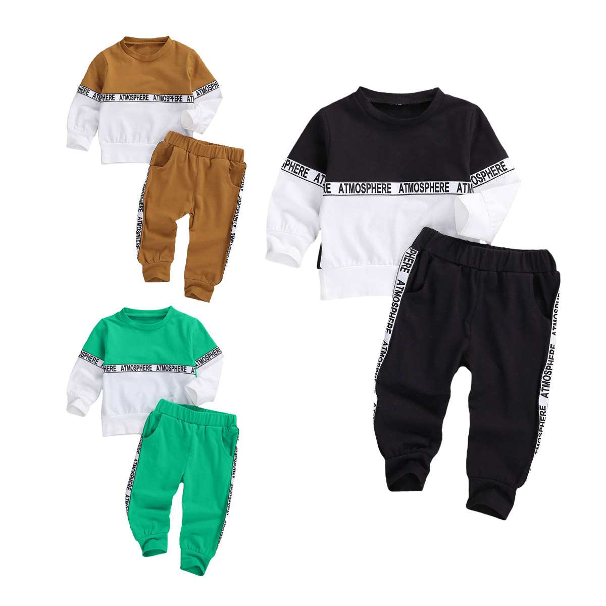 2020 Autumn Spring Baby Girls Boys Clothing Set Children Long Sleeve Round Neck Two-tone Stitching Top+ Elastic Waist Pants 1-4T