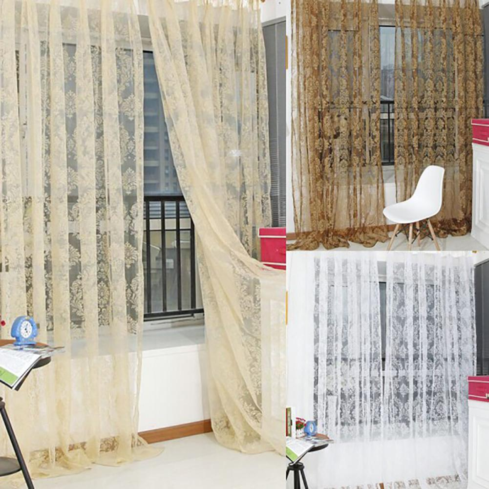 US $2.49 34% OFF|Curtains Geometric Modern Window Sheer Curtain Panels for  Living Room the Bedroom Kitchen Blinds Window Treatments Draperies on ...