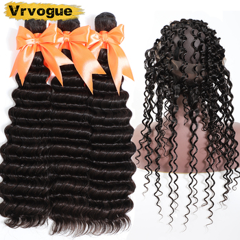 Vrvogue Hair Deep Wave Bundles With 360 Frontal Brazilian Remy Human Hair Weft Weave Pre Plucked 360 Lace Frontal With Bundles