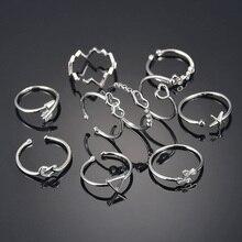 Anillos de acero inoxidable ajustables personalizados Unisex geométricos Vintage para mujeres Color plateado moda de fiesta anillos abiertos joyería