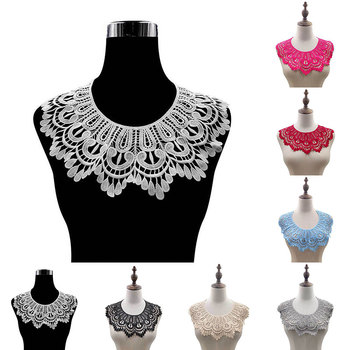 DIY Floral Lace Collar Fabic Embroidered Applique Patch Neckline Lace Fabric Sewing On Supplies Scrapbooking Fake collar Patches 1 pairs organza embroidered wings lace embroidery patches diy lace collar neckline decorate sewing craft supplies patches white