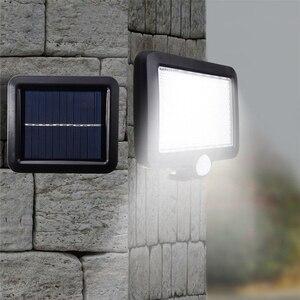 Image 5 - 56/100 LED LED שמש אור PIR תנועת חיישן שמש מנורת קיר חיצוני IP65 עמיד למים אינפרא אדום חיישן גן פטיו ספוט אור