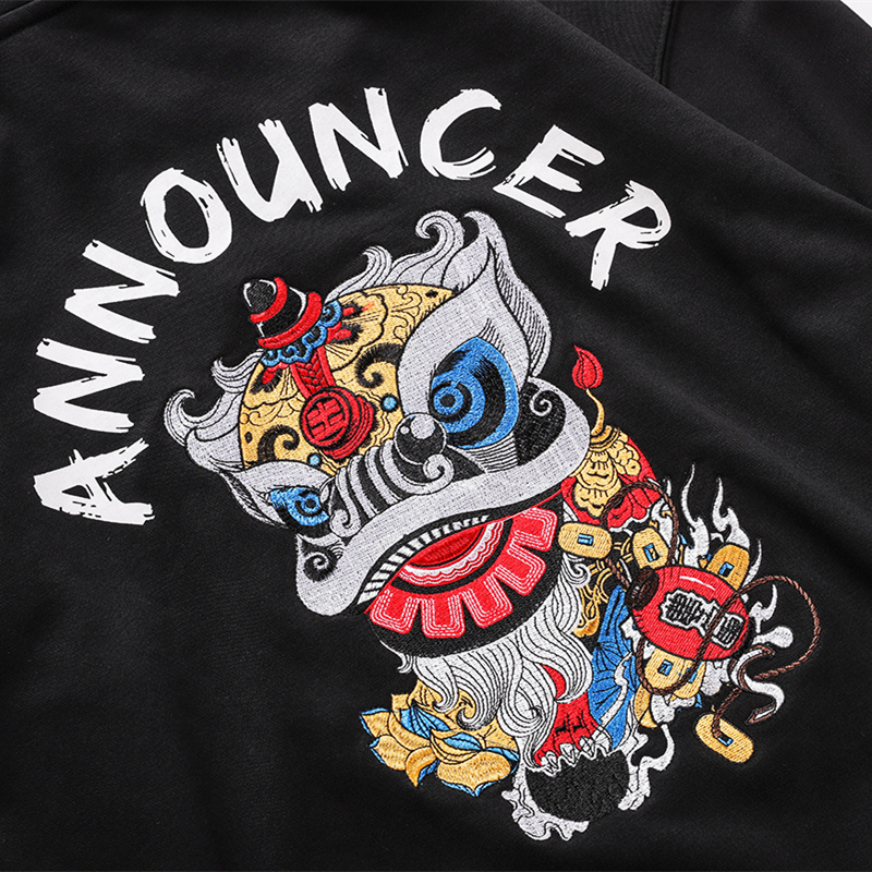 Bebovizi Chinese Style Tops Men Lion Dance Embroidered Hooded Sweatshirts Hoodies Harajuku Hip Hop Pullover Hoodie Streetwear in Hoodies amp Sweatshirts from Men 39 s Clothing
