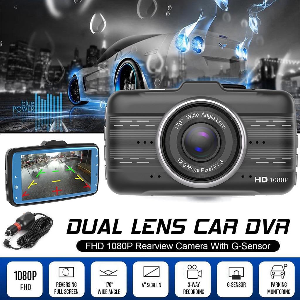 4'' LCD IPS Dual Lens Car Dash Cam HD 1080P Dashboard Camera 170° Driving DVR Rear Camera 720P Russian GPS Car Charger