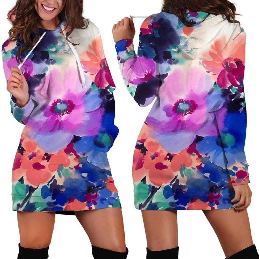 Hot nieuwe herfst/winter 2019 sweatshirt lange mouwen jurk voor vrouwen, 3D gedrukt jurk ontwerp, mode harajuku landschap hooded dre