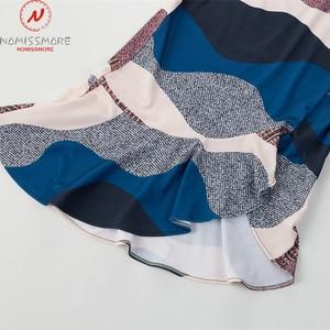 Image 5 - Women Streetwear Trumpet Dress Patchwork Design Ruffles Decor V Neck Sling Print Asymmetrical Dress Elegant Lady Slim Hips Dress