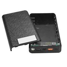 QC 3.0 çift USB + tip C PD 8x18650 pil DIY güç banka kutusu led ışık hızlı iphone şarj cihazı Samsung cep tablet telefon