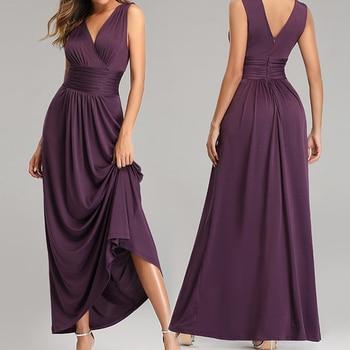 Evening Dress 2019 Long Solid A-line Robe De Soiree LT003 Sleeveless V-neck Evening Dresses For Women Zipper Elegant Formal Gown women s chic sleeveless solid color v neck a line dress