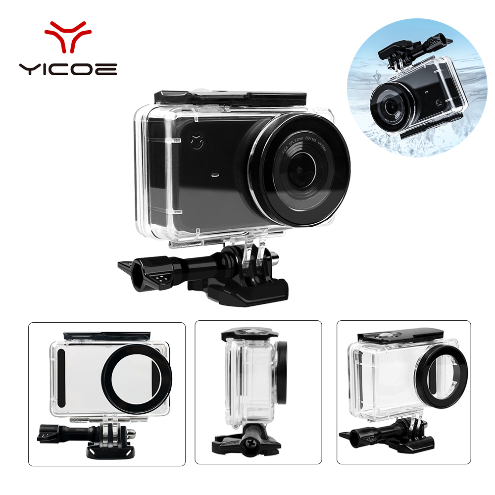 For Xiao Mijia Action Camera Accessories Waterproof Housing Case Box + Frame Shell Cover + Skin Case Cover + Lens Cap Protector